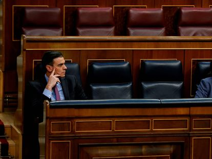 Spanish Prime Minister Pedro Sanchez (l) and Deputy Prime Minister Pablo Iglesias in Congress today.