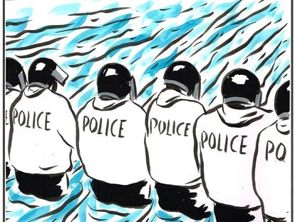 """""""They sent in more police officers to stop the flooding."""""""