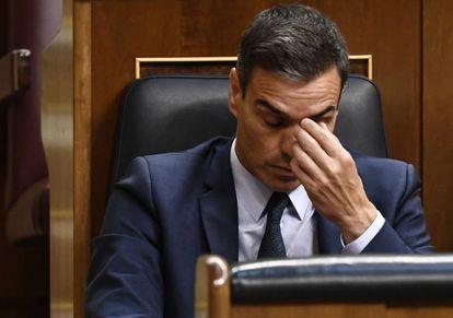 Acting Prime Minister Pedro Sanchez at the parliamentary debate.