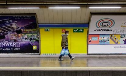 A Metro station in Madrid, where transit authorities reported a 81% drop in passengers during peak hours.