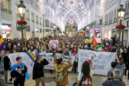 Protest on Monday in the center of Málaga against the rise of Vox.