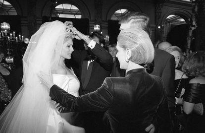 Carolina with Marla, Donald Trump's second wife.