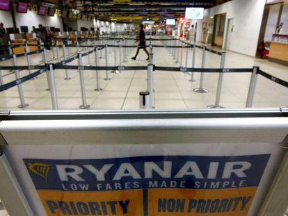 Empty airport terminal in Berlin.