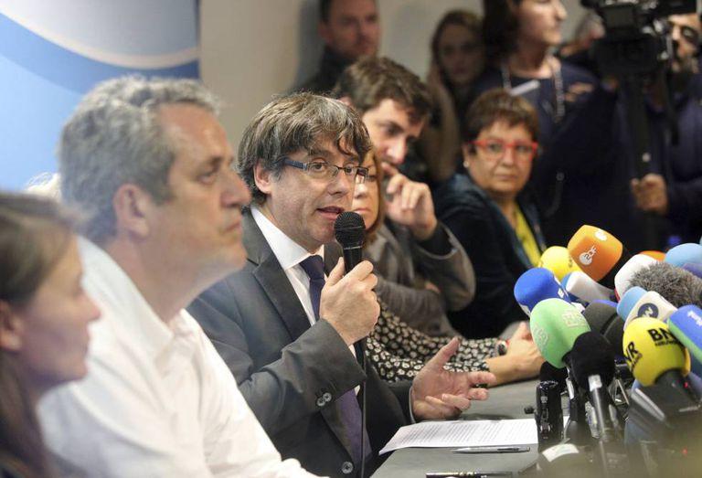 Former Catalan regional premier Carles Puigdemont at today's press conference.