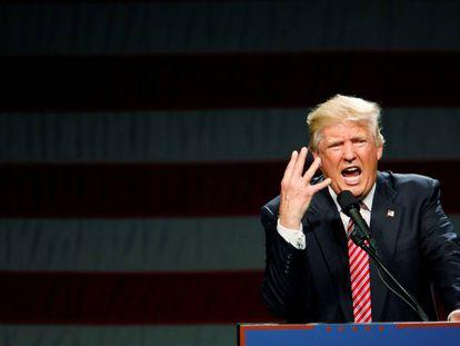 Donald Trump addresses followers in North Carolina.