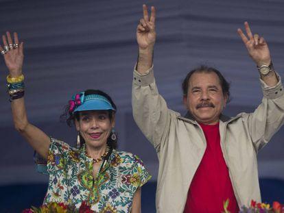 Daniel Ortega and his wife Rosario Murillo, last week in Managua.