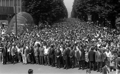 A mass demonstration in Bilbao on July 12, 1997 demanding the release of Miguel Ángel Blanco. ETA killed him the next day.