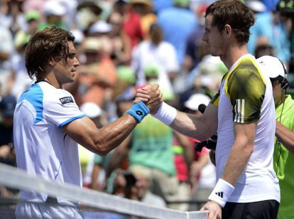 Andy Murray greets David Ferrer after their men's final match at the Sony Open tennis tournament in Miami.