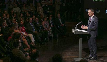 Spanish Prime Minister Pedro Sánchez speaking on Monday in Madrid.