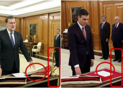 The difference between Rajoy's swearing-in ceremony and Sánchez's.
