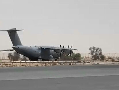 The first A400M plane departs from Dubai headed to Kabul.