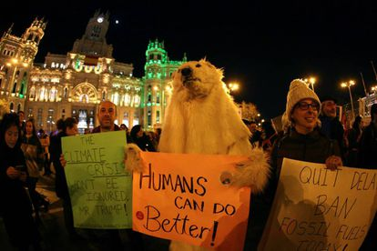 Protesters at the climate change march in Madrid.