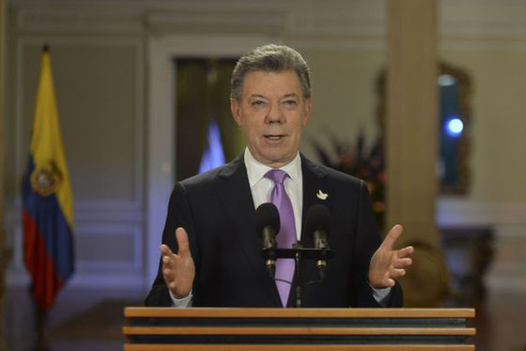 President Juan Manuel Santos speaks to the nation on Tuesday.