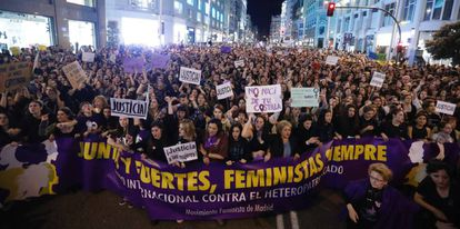The 2017 Women's Day march in Madrid.