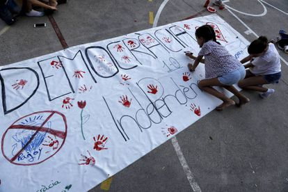 A child in a school in Barcelona on October 1, the day of the illegal referendum on Catalan independence.