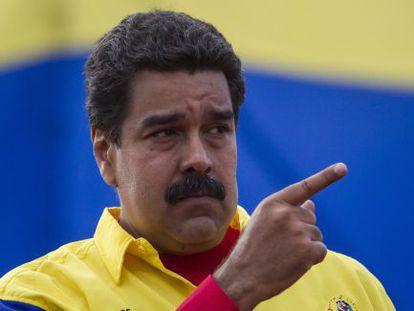 Venezuelan President Nicolás Maduro during a political rally.