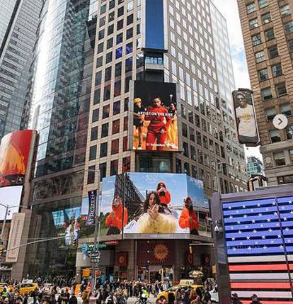 A billboard promoting Rosalía's new album in Times Square, New York.