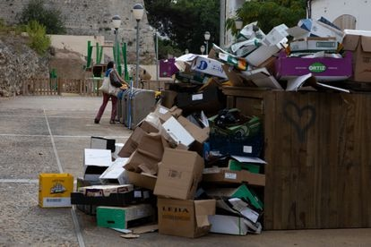 Garbage sits piled up in Ibiza's old town on Thursday.