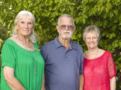 From left to right: British retirees Vilma Archer, Gerald Steel and Jean Steel in Archer's garden.