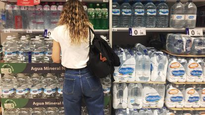Plastic water bottles in a Madrid supermarket.