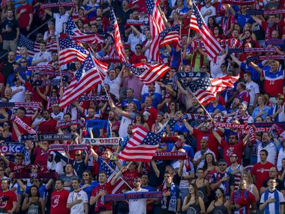 American fans watching the national team play in Kansas in May.