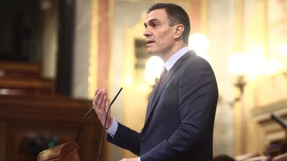 Spanish PM Pedro Sánchez addressing lawmakers on Wednesday.