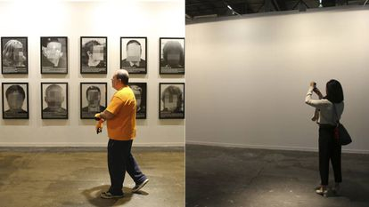 The spot where Sierra's work was displayed, before and after.
