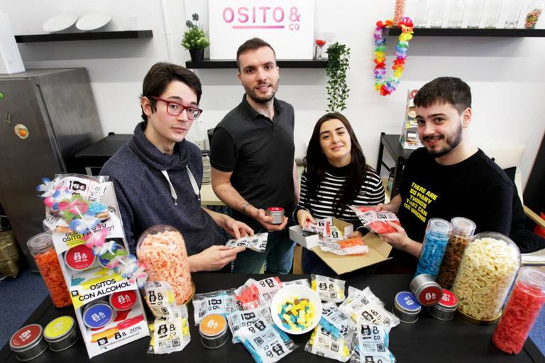 Members of the Basque start-up Ositos&Co, which has been targeted by the German confectioner Haribo.