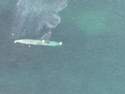 Aerial image of the 'narco-submarine' captured off the coast of Galicia.