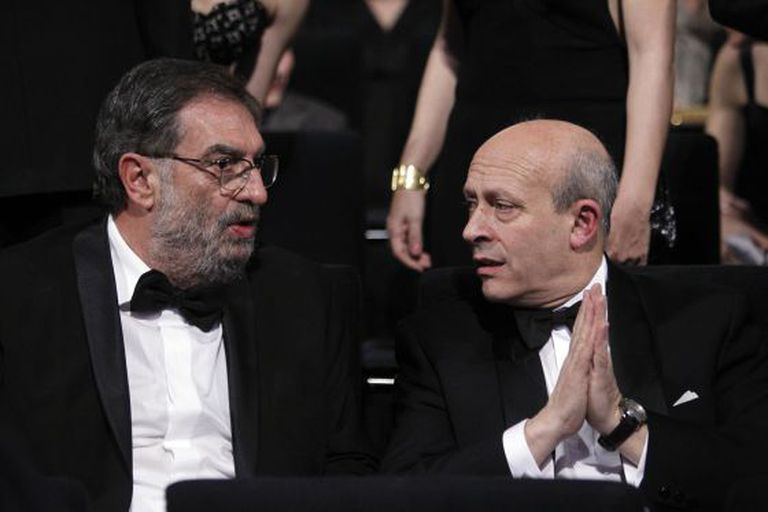 Last year's Goyas ceremony with José Ignacio Wert (r) next to Cinema Academy president Enrique Gonzalez Macho.