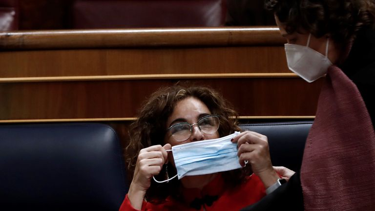 Finance Minister and government spokesperson María Jesús Montero in Congress on Wednesday.