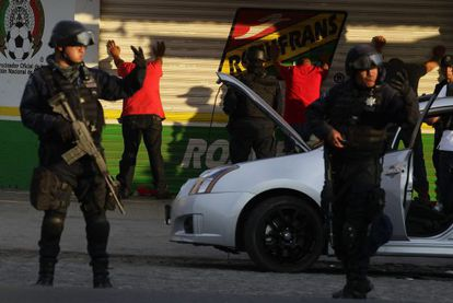 Police on Sunday arrest suspected members of Los Caballeros Templarios drug cartel.
