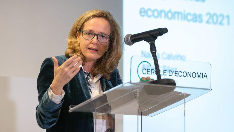Economy Minister Nadia Calviño speaking at Barcelona's Cercle d'Economia on Monday.
