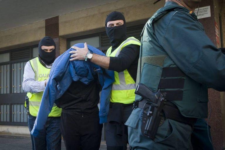A file photo of a jihadist arrest by the Spanish Civil Guard.