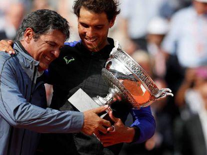 Toni and Rafa Nadal celebrate the Roland Garros victory in June.