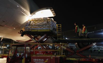 A plane carrying 56 tons of medical supplies arriving at Madrid Barajas-Adolfo Suárez airport from Shanghai on May 3.