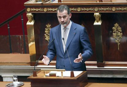 King Felipe VI of Spain delivers a speech at the French National Assembly.