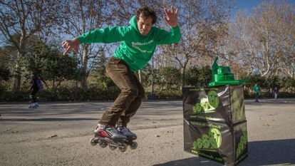 A member of the skating association Rolleando during a charity promotional video shoot last Saturday