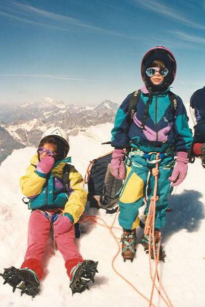 Kilian Jornet, seated, at age 7, with his sister Naila in Breithorn in the Swiss Alps.