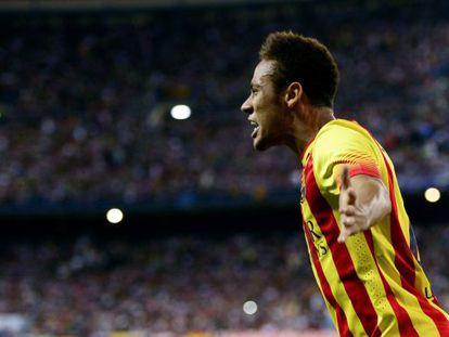 Barça's Neymar celebrates after scoring the equalizer against Atlético.