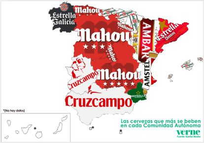 The most-drunk beers in each autonomous region of Spain (no data for Canary Islands or Ceuta and Melilla).