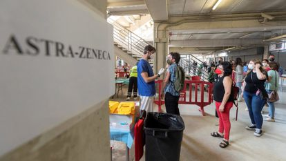 A second shot of AstraZeneca is administered in a sports stadium in Murcia, southern Spain.