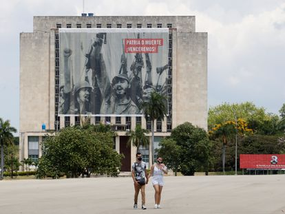 A couple in Revolution Square in Havana.