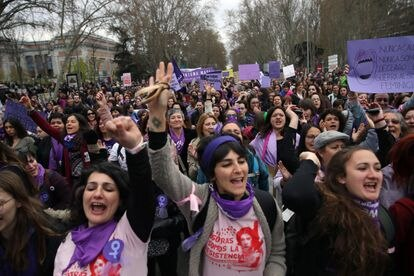 The 8-M feminist marches in Madrid this year.