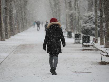 Snow in Madrid's Retiro Park on Thursday.