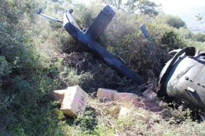 The scene of a crash in Málaga province involving a drug gang's helicopter flown by an Albanian pilot.