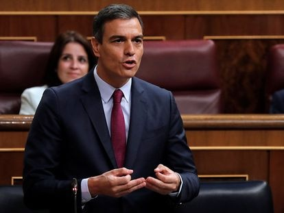 Spanish Prime Minister Pedro Sánchez in Congress on Wednesday.