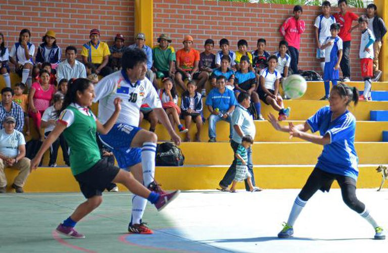 Bolivian President Evo Morales played a soccer match after voting on Sunday.