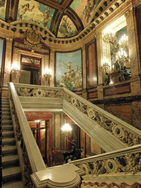 The ornate staircase at the entrance of the Linares Palace, which houses the Casa de América in Madrid.
