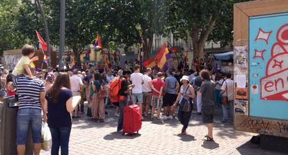 A pro-republic demonstration in Tirso de Molina square in Madrid.